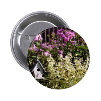 Flower Garden Pastel Painting Button Pin