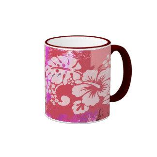 FLOWER GARDEN PINK RINGER COFFEE MUG