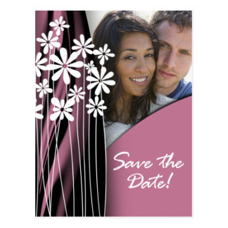 Flower Garden Save the Date Postcard (mauve)