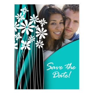 Flower Garden Save the Date Postcard (turquoise)