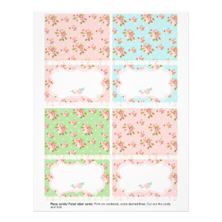 Flower Garden Tea Party tent style table cards Letterhead