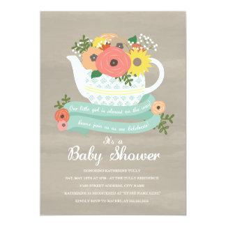 Flower Garden Teapot Baby Shower Invitation
