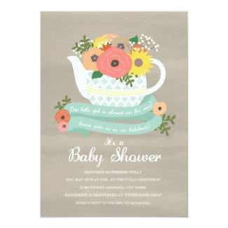 Flower Garden Teapot Baby Shower Invitation