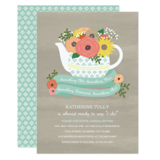Flower Garden Teapot Bridal Shower Invitation