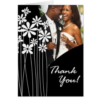 Flower Garden Thank You (black & white) Card