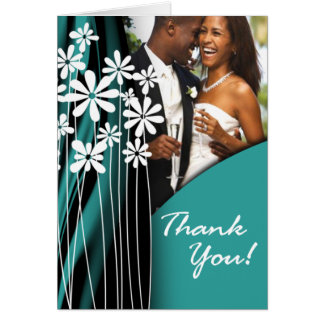 Flower Garden Thank You (dark teal) Greeting Card