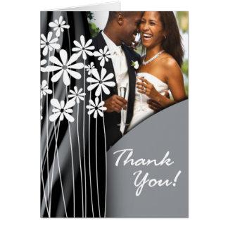 Flower Garden Thank You (light grey) Card