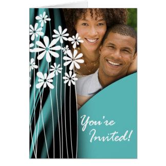Flower Garden Wedding Photo Invitation (aqua)