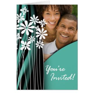 Flower Garden Wedding Photo Invitation (jade) Greeting Card