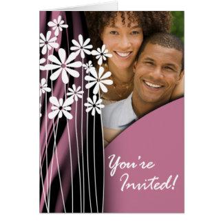 Flower Garden Wedding Photo Invitation (mauve)