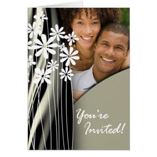 Flower Garden Wedding Photo Invitation (pewter) Greeting Card