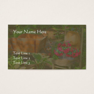 Flower Garden Wheelbarrow And Chair Business Card