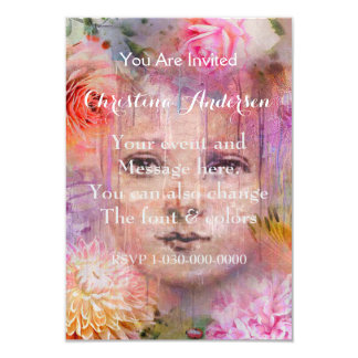 Flower Garden Woman Paint Dripping Card