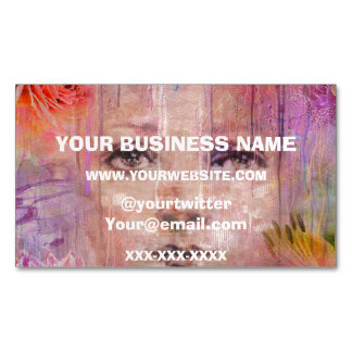 Flower Garden Woman Paint Dripping Magnetic Business Card