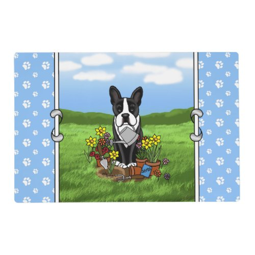Flower Gardener Boston Terrier black Cute Dog Placemat