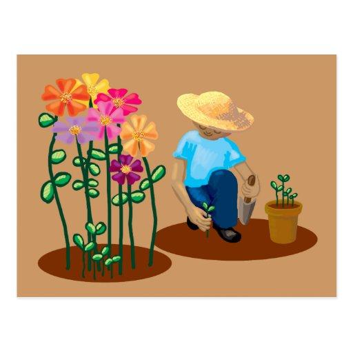 Flower gardener post card