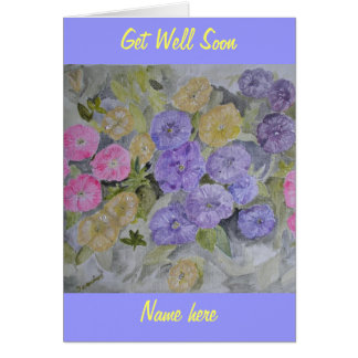 Flower Get Well Soon Card add name front