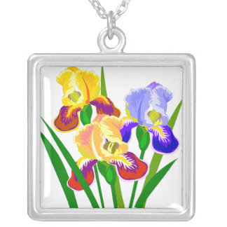 Flower Gifts Square Pendant Necklace
