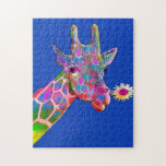 """Flower Giraffe Jigsaw Puzzle<br><div class=""""desc"""">Have fun putting this puzzle together of a colorful giraffe with flower portrait. Makes for a great gift,  too.</div>"""