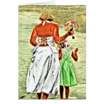 Beach Themed Flower Girl and Bride, Wedding Congratulations Card