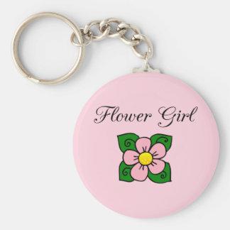 Flower Girl Basic Round Button Keychain