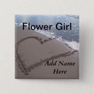 Flower Girl Beach Wedding Button