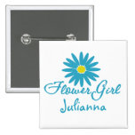 Flower Girl/ Blue Daisy 2 Inch Square Button
