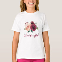 Flower Girl Blush Pink Burgundy Rose Floral T-Shirt