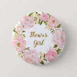 """Flower Girl Blush Pink Floral Round Badge Button<br><div class=""""desc"""">Sweet and girly design featuring pink &amp; blush watercolor floral wreath</div>"""