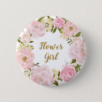 Flower Girl Blush Pink Floral Round Badge Button