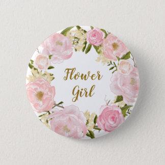 Flower Girl Blush Pink Floral Round Badge Button