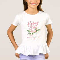Flower girl blush pink floral watercolor t-shirt