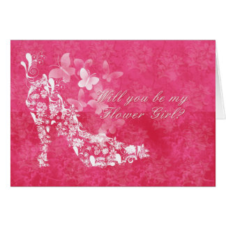 Flower Girl Bridal request card with flower shoe