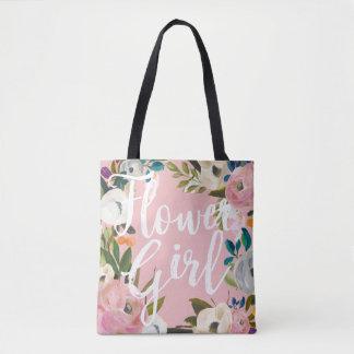 Flower Girl Brushed Floral Wedding Party Pink Tote Bag
