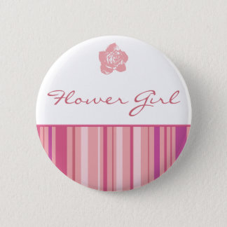 Flower Girl Button-Modern Stripes (Pink) Pinback Button
