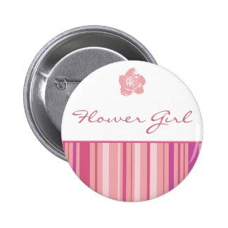 Flower Girl Button-Modern Stripes (Pink) Pinback Button
