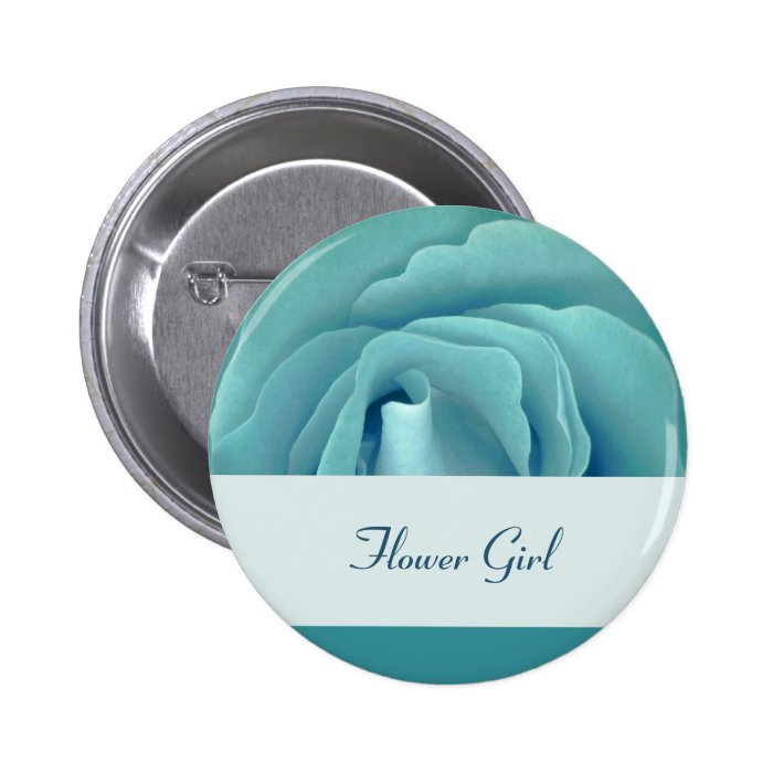 FLOWER GIRL Button with Turquoise Rose and Ribbon