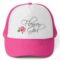 Flower Girl Calligraphy and Rose Trucker Hat