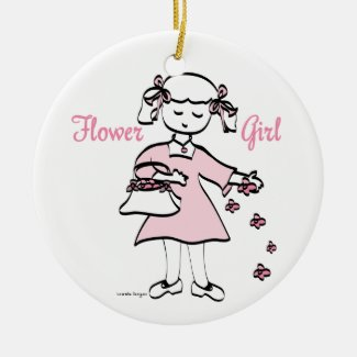 Flower Girl Ceramic Ornament