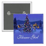 flower girl  Christmas tree wedding button. Pins