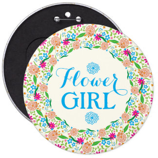 Flower Girl-Colorful Summer Flower Wreath 2 Pinback Buttons