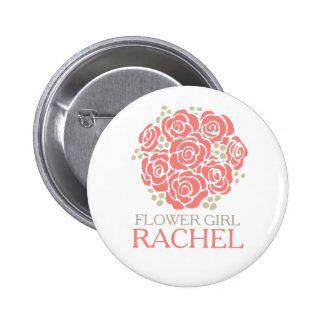 Flower girl coral posy named wedding pin button