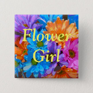 """Flower Girl"" - Crazy Daisies (1) Pinback Button"