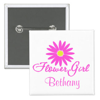 Flower Girl Daisy/ Pink 2 Inch Square Button