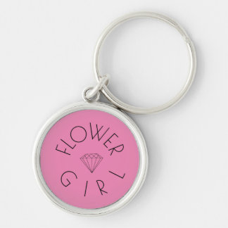 Flower Girl Diamond Black on Pink Keychain