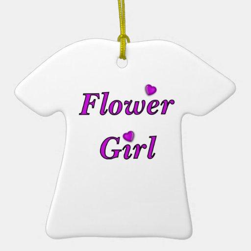 Flower Girl Double-Sided T-Shirt Ceramic Christmas Ornament