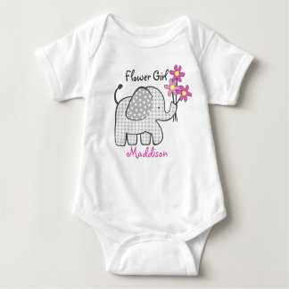 Flower Girl Elephant with Pink Flowers Tee Shirt