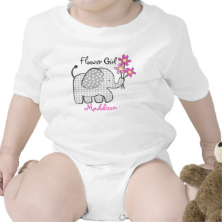 Flower Girl Elephant with Pink Flowers Romper