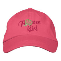 Flower Girl Floral - Pink Embroidered Baseball Cap