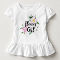 Flower Girl Floral Watercolor Wedding Toddler T-shirt